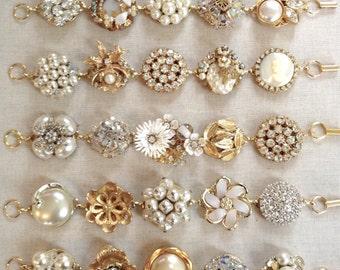 1 Vintage earring bracelet, gold, pearl, rhinestone, vintage, floral, bracelet, repurposed, jewelry, bridesmaid, cluster earring bracelet