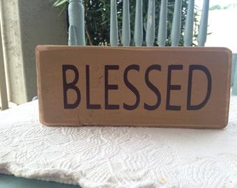 Blessed Wood Block Hazelnut Decor Wood Sign Home Decor Gifts Under 10 Gift Idea Room Decor Gift Idea Wooden Blocks Decorations