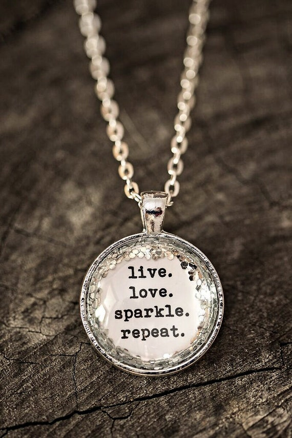 FREE SHIPPING - Glitter Quote Necklace - Silver Glitter Sparkles - Live Love Sparkle Repeat - Glass Pendant Necklace