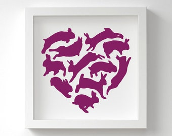 Bunny Heart Print – Bunny Nursery Art – Rabbit Print – Love Wall Art – Birthday Gift – In Many Colours – 13x13 cm or 23x23 cm – Unframed