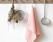 Red Stripe Stone Washed Linen Tea Towel