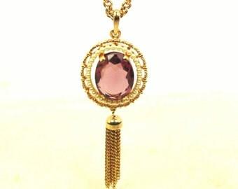 Avon Mauve Rhinestone Pendant Necklace with Chain Dangle, Vintage, Gold Tone
