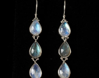 Moonstone Labradorite Dangle Earrings: RAIN