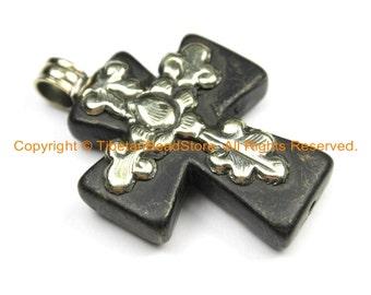 Tibetan Reversible Black Howlite Cross Pendant with Tibetan Silver Metal Bail & Floral Details - Ethnic Tibetan Black Cross- WM6311