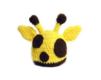 Giraffe Hat, Baby Hat, Newborn Photo Prop, Crochet Giraffe Hat, Knit Giraffe, Yellow Baby Hat, Newborn Knit Hat, Baby Boys Animal Hat Yellow