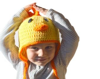 Toddler Chicken Hat, Boys Farm Animal Hat, Girls Spring Hat, Baby Chicken Animal Hat, Newborn Photo Prop, Infant Winter Hat, Farm Animal Hat