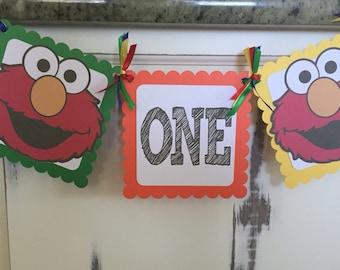 Elmo Sesame Street High Chair 1st Birthday Banner