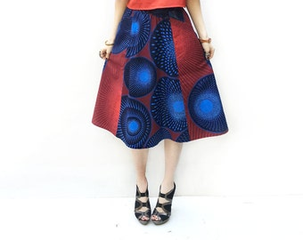 Ankara Midi Skirt, Red and Blue Skirt, African Fashion, A-Line Skirt, African Clothing, Blue Skirt, Red Skirt, Blue Skirt / Last Size - XS