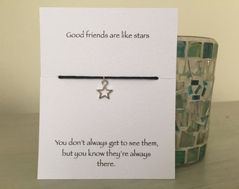 Friendship bracelet, silver star bracelet, star bracelet, best friend gift, gift for friend, birthday gift, leaving gift, friendship gift