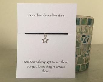Friendship bracelet, silver star bracelet, star bracelet, best friend gift, gift for friend, birthday gift, leaving gift, friendship gift