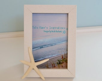 Nautical Beach Décor Shell Frame- Starfish frame 4x6