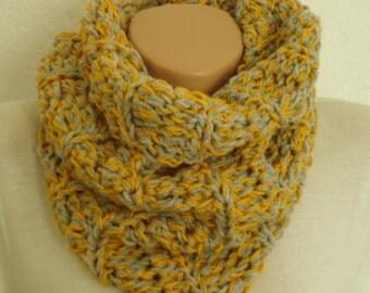 Mustard  And Grey Chunky Crochet Scarf Snood Cowl/gray and turquise crochetted scarf/ crochet snood /gray crochet scarf /christmas gift cowl