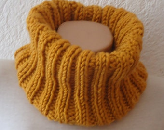 Mustard Knit scarf / knitted scarf/mustard scarf/ mustard knit snood /Ready to ship scarf/  knit scarf /cowl/Yellow knitted scarf
