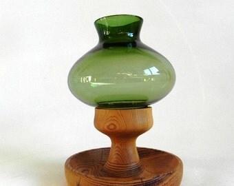 Swedish design wood and green glass hurricane candle holder Swedish modernist Nodric design M