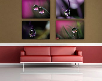Macro Dew Drop Photograph, Four print Set, Water Drop Fine Art Wall Art, Macro Photography, Pink and Purple Photo Prints, Print Grouping