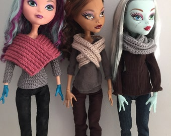 "Poncho and Infinity Scarf crochet pattern for Monster High / Ever After High 17"" Tall PDF"