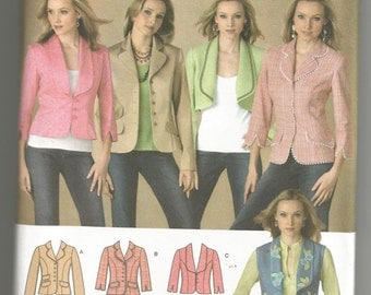 4281 Simplicity Sewing Pattern Lined Jacket/Vest Collar/Length Variations UNCUT Size 6 8 10 12