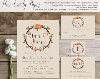 Printable Fall Wedding Invitation Suite - the Hickory Collection
