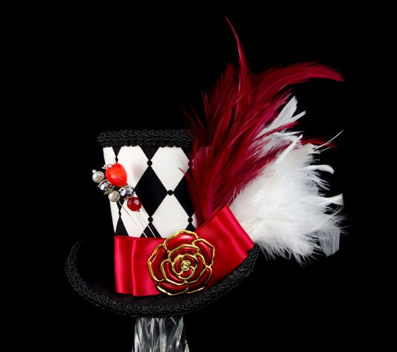 Queen of Hearts – Black, White, and Red Harlequin Version 2 Empress Collection Large Mini Top Hat , Alice in Wonderland Mad Hatter Tea Party