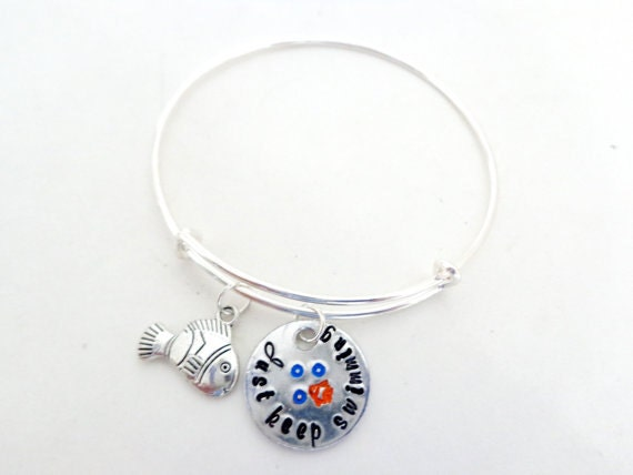 Just Keep Swimming Hand Stamped Bangle Bracelet with Fish and Bubbles