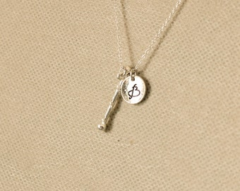 Baton necklace. cheerleader necklace, baton twirling, personalized initial necklace. sterling silver necklace. No.124
