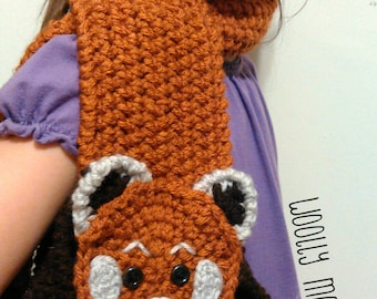 Red Panda Crochet Scarf - Child Size