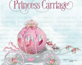 Pink & Silver Princess Carriage Roses Ribbons Bows | Cinderella Coach | Clipart Instant Download