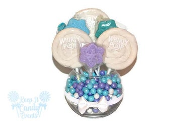 Snowflake Small Round Lollipop Centerpiece, Snowflake Themed Candy Decoration, Winter Theme, Snow Theme, Candy Table Decor, Candy Buffet