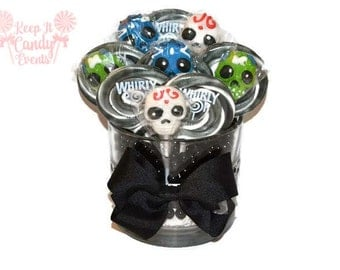 Sugar Skull Lollipop Centerpiece, Halloween Candy Centerpiece, Skull Candy Centerpiece, Halloween Centerpiece, Sugar Skull Centerpiece