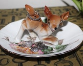 Beautiful Deer Fawn Rose Kitsch Ring Dish Jewelry Catch All