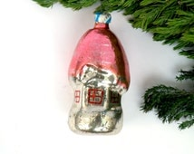 Vintage house Glass Christmas ornament Vintage russian ornament Soviet Christmas tree decoration Winter holiday decor Pink house Cabin