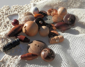 SET of Vintage Wood Buttons