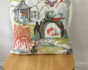 """Designer Fabric Robert Allen Neo Toile Coral Throw Pillow Cover  Same Fabric Both Sides 20""""x20""""  Decorative Pillow Cover"""