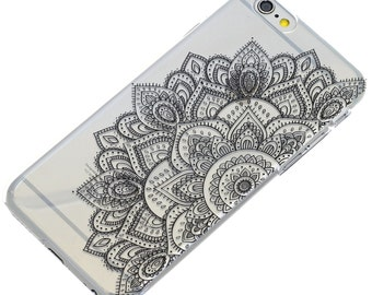 Half Black Mandala Henna Black Ink, iPhone Case, Transparent, Phone Case, iPhone 6, iPhone 5, iPhone SE, iPhone 6 plus, iPhone 7 Plus