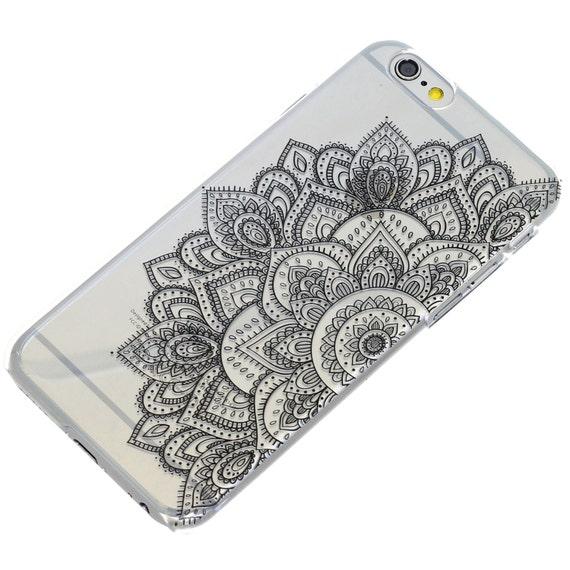 Half Black Mandala Henna Black Ink, iPhone Case, Transparent, Phone ...