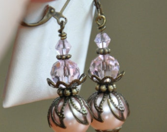 Earrings-Victorian Charm- drop dangle earrings- pretty pink- glass pearls- beautiful gift for your bridesmaids- vintage look-soft & feminine
