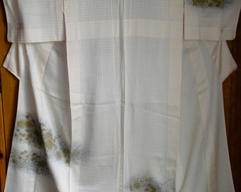 KIMONO FABULOUS SEMISHEER Vintage Japanese Hitoe Unlined Silk Kimono Kinsai Gold Grasses 1 Mon SemiSheer Lovely Rich Cream Windowpane Silk