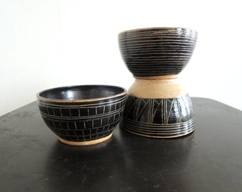 Geometric carved stoneware everyday bowls in black and tan