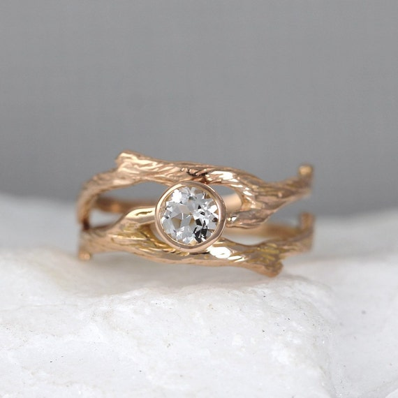 branch wedding ring branch style engagement ring and wedding band set twig rings 2055