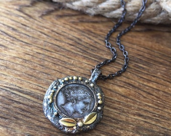 Ancient Empires Coin Pendant Necklace made of Sterling Silver with 18k Gold