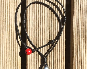 Tahitian pearl  on leather necklace, red glass padre bead as clasp