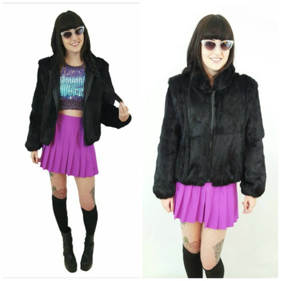 SALE Black 80s Vintage Rabbit Fur Jacket Small Medium - 1980s Vtg Winter Warm Animal Fur Coat - Short Fuzzy Zipper Luxury Overcoat S M