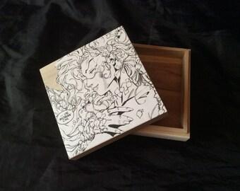 Poison Ivy Hand decorated wooden box trinket