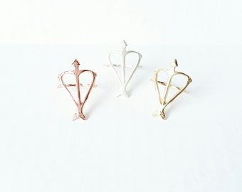 24k Rose or Yellow Gold Vermeil Signature Open Heart Warrior Bow and Arrow Statement everyday ring / Eco-Friendly Jewelry