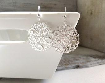 Matte Silver Round Filigree Earring, Spanish Style Earrings, Moroccan Earrings, Bohemian Earrings, Everyday Earrings, Silver Earrings