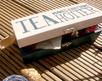 50% SALE! Wooden Tea box White and Blue