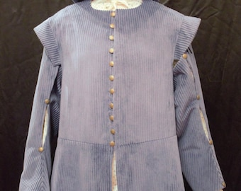 Men's Blue Corduroy Long Tunic with Detachable Sleeves