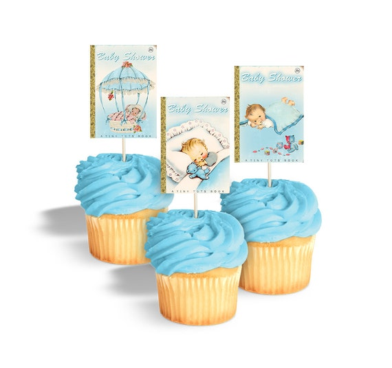 Baby shower cupcake toppers printable book themed baby for Baby shower cupcake decoration