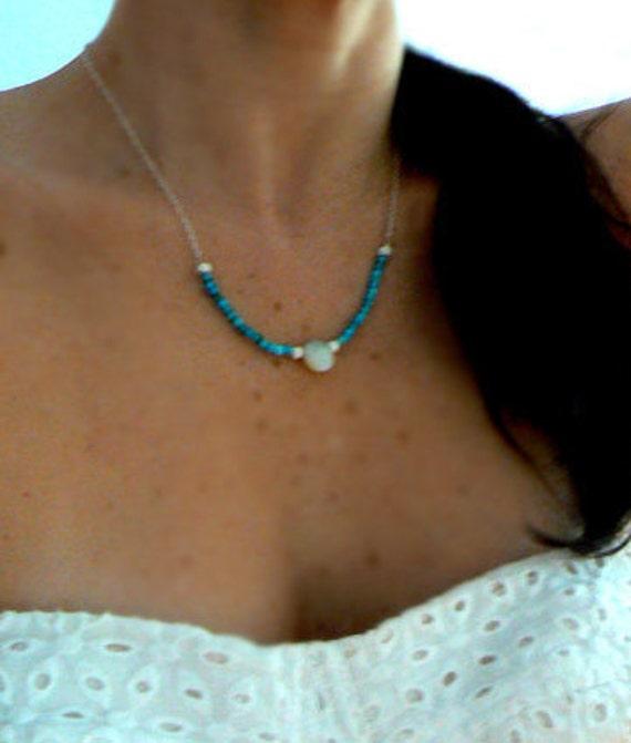 Australian opal turquoise necklace- Tibetan turquoise opal gemstone necklace-Sterling silver blue stone pendant- Women jewelry gift