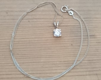 Vintage sterling silver cubic zirconia pendant and chain